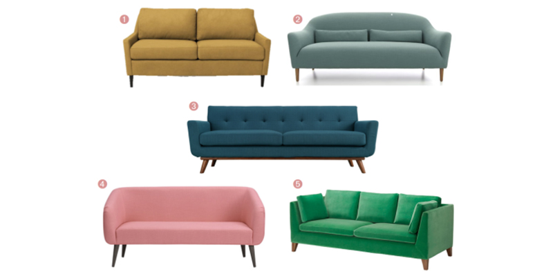 Colorful Mid-Century Couches Under $1000