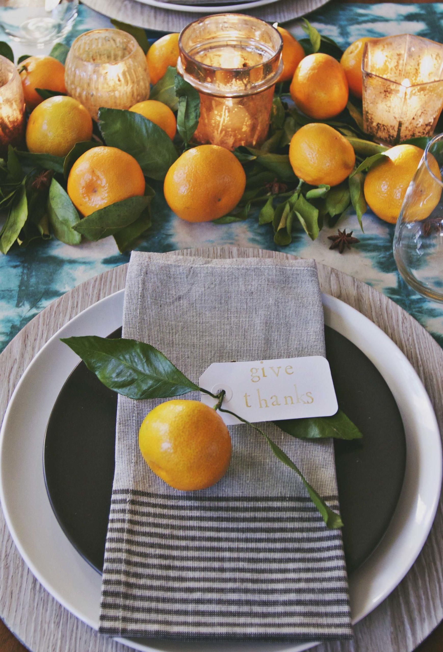 Modern diy thanksgiving table setting table decor shibori table runner