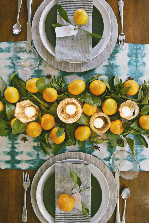 Modern diy thanksgiving table setting table décor shibori table runner
