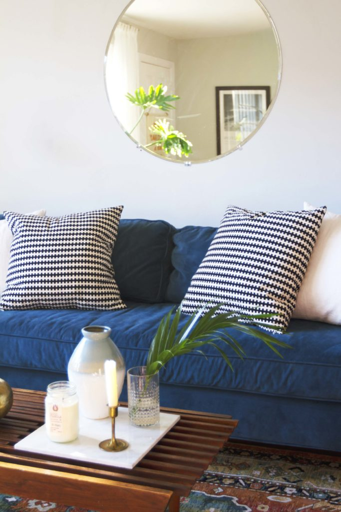 How To Design Update Modern Living Room Blue Velvet Sofa