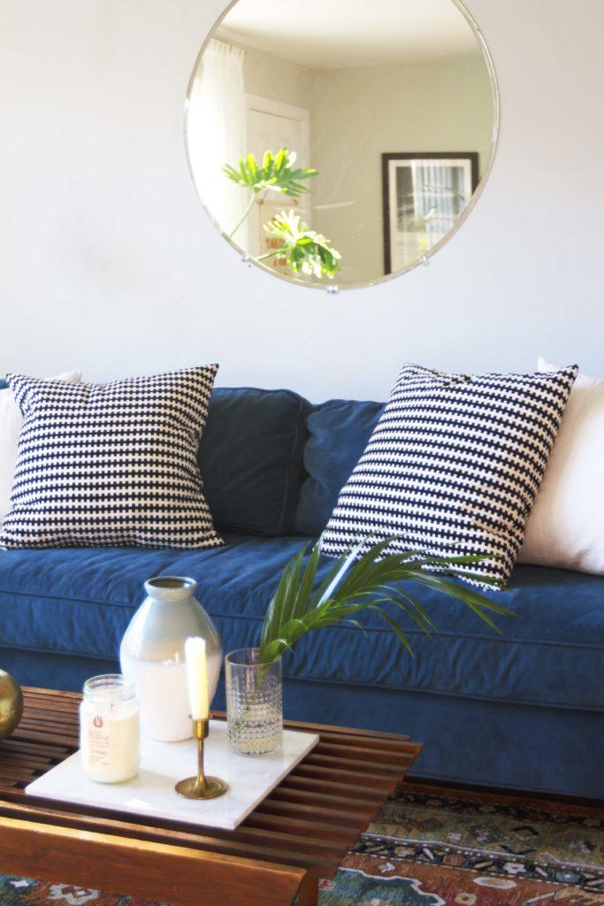 How To Design Update Modern Living Room Blue Velvet Sofa