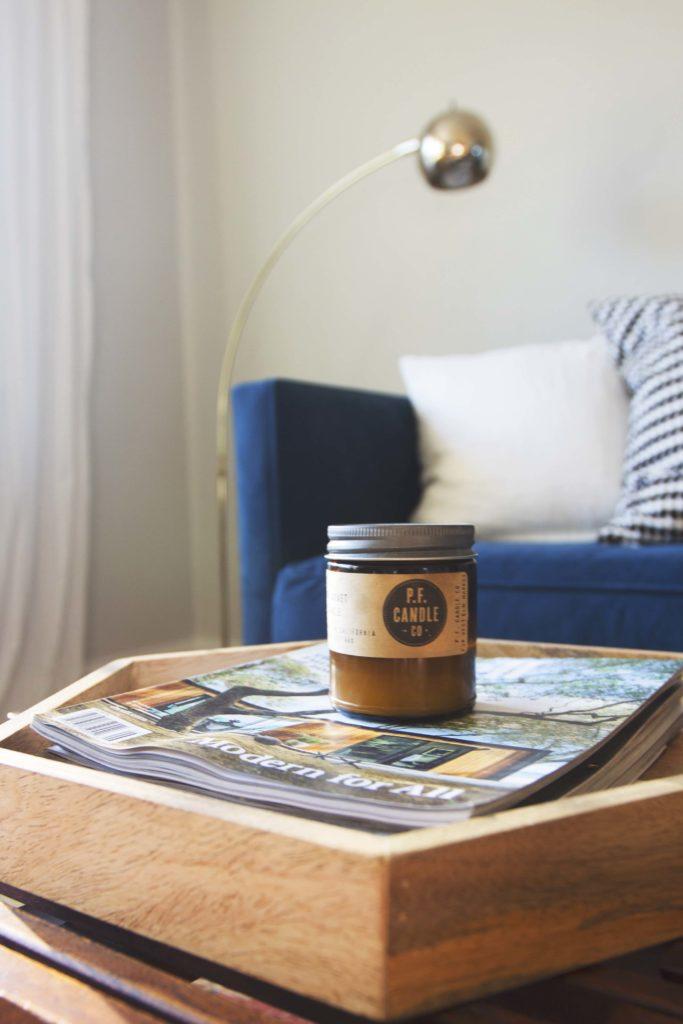 Modern Living Room Makeover Blue Velvet Sofa Before And After 11