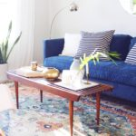 Modern Living Room Makeover Blue Velvet Sofa Before And After 2