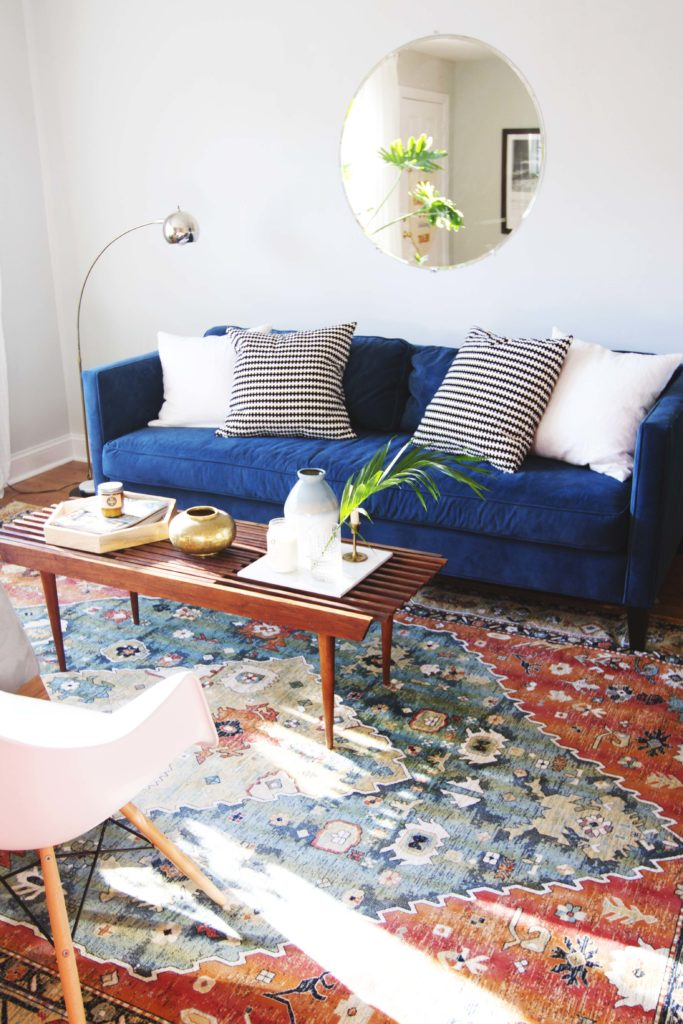 Modern Living Room Makeover Blue Velvet Sofa Before And After 4