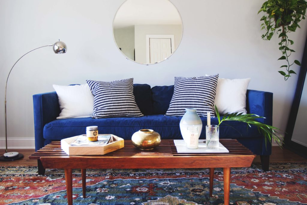 Modern Living Room Makeover Blue Velvet Sofa Before And After 6