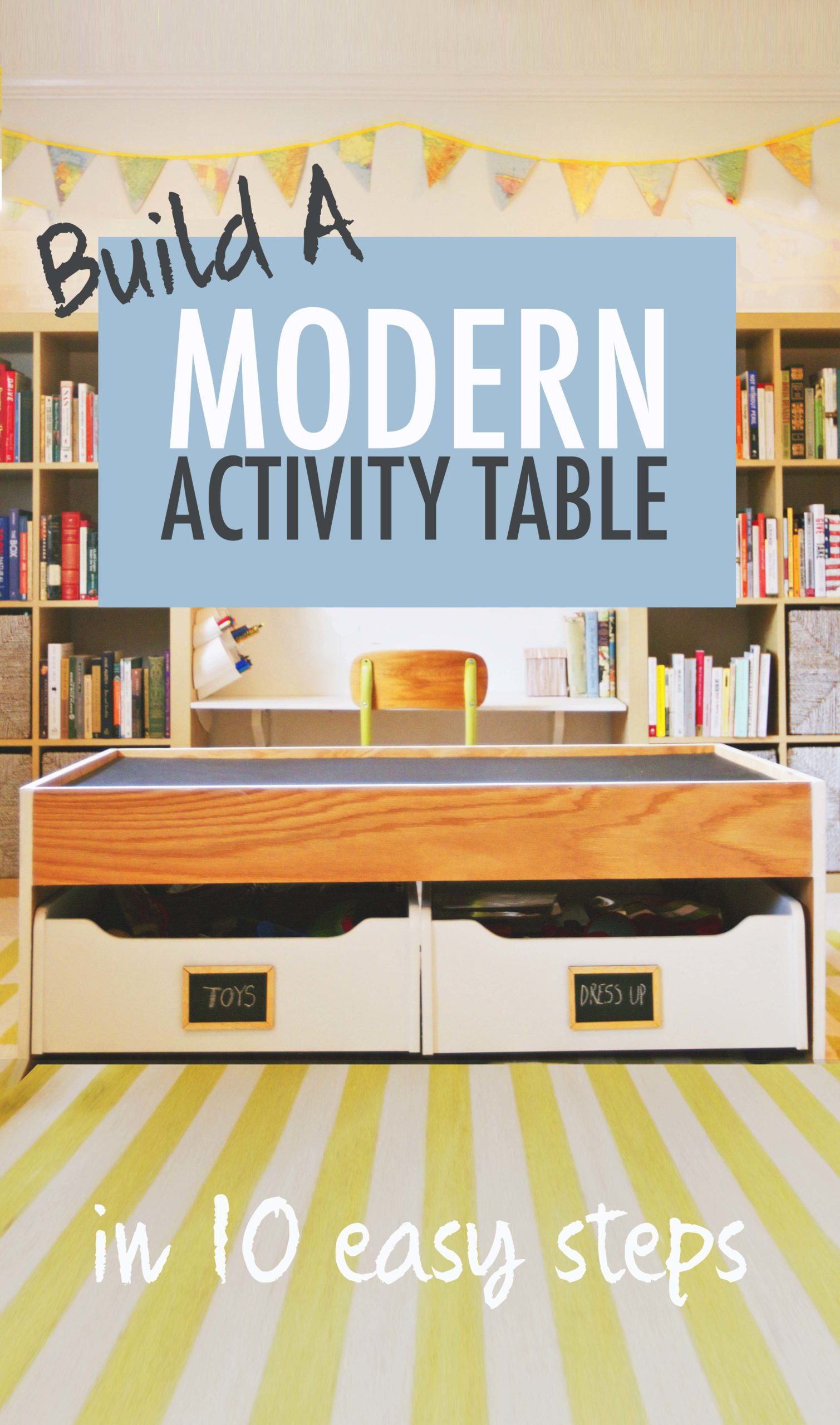 modern train activity table diy tutorial