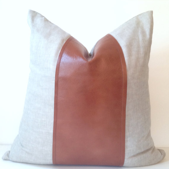 Leather Pieced Pillow Cover