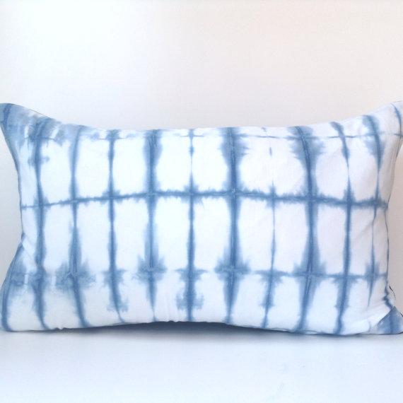 Shibori Indigo Dyed Lumbar Pillow Cover, $48.