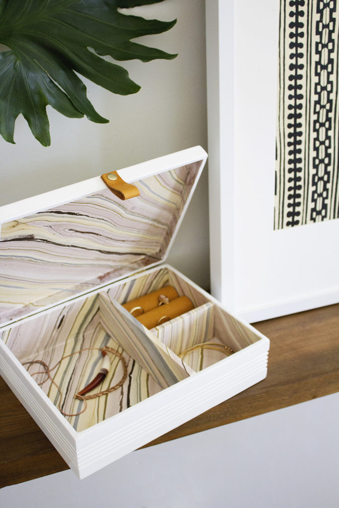 Leather and Marble Jewelry Box by Annabode