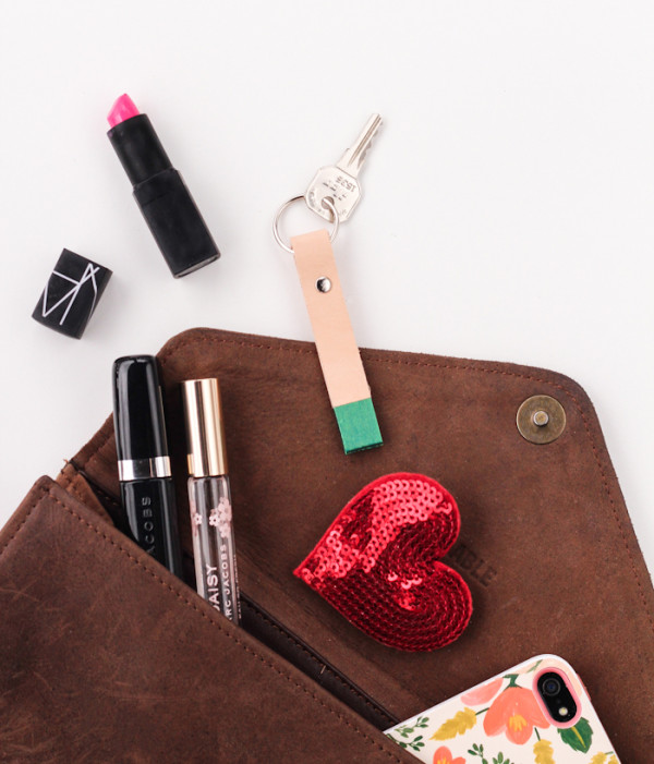 Color-Blocked Leather Keychain by The Crafted Life