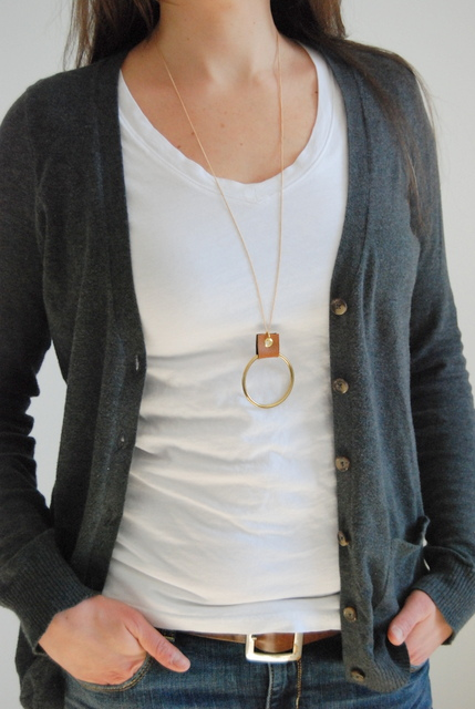 Leather and Gold Necklace by NORTHSTORY