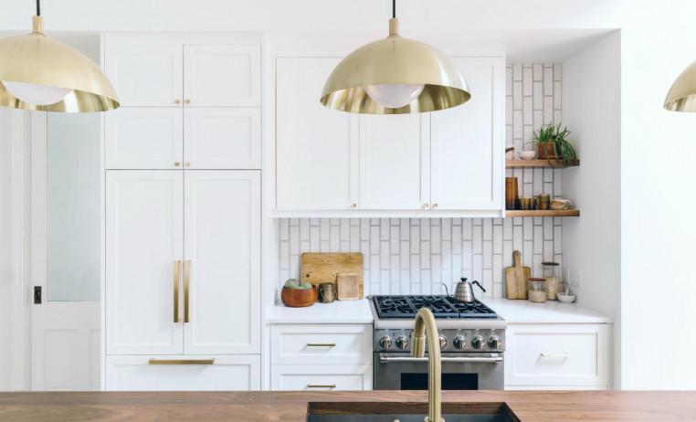 gold-light-fixtures-white-kitchen