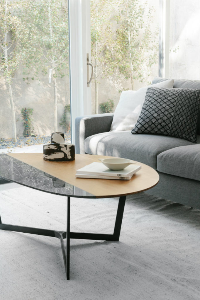 Gray Fabric Couch Rug Coffee Table