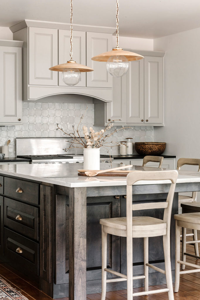 Kitchen Dark Island Gray Cabinets